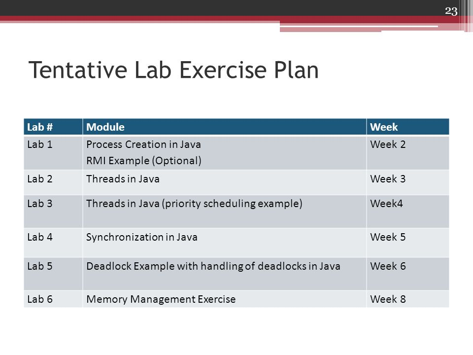 Tentative Lab Exercise Plan