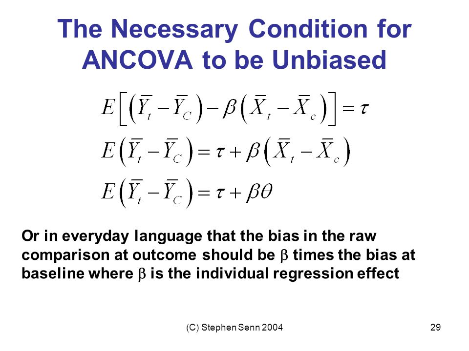 The Necessary Condition for ANCOVA to be Unbiased