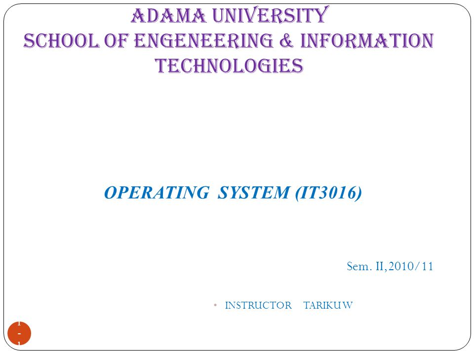 ADAMA UNIVERSITY SCHOOL OF ENGENEERING & INFORMATION TECHNOLOGIES