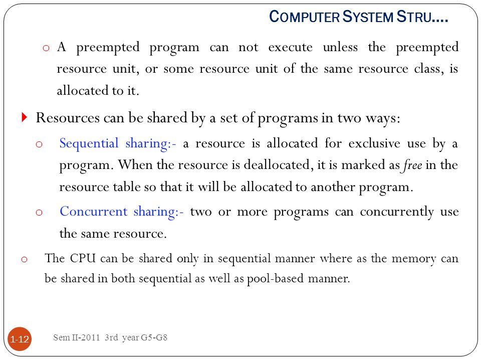 Resources can be shared by a set of programs in two ways: