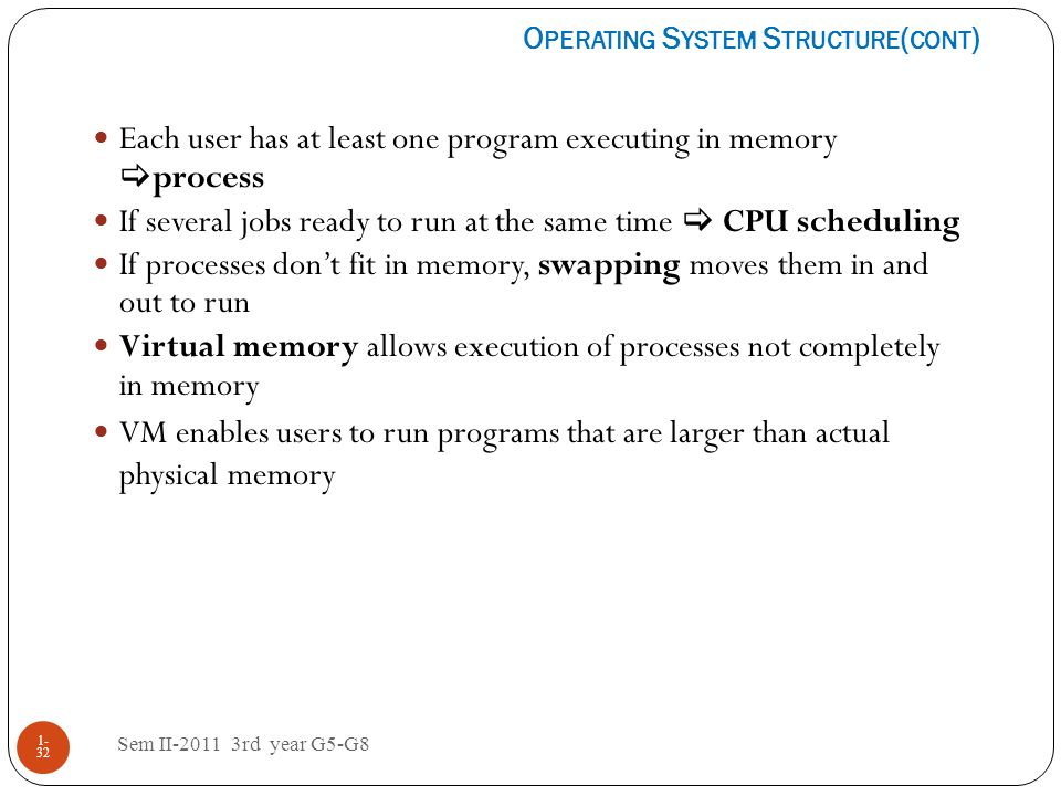 Each user has at least one program executing in memory process