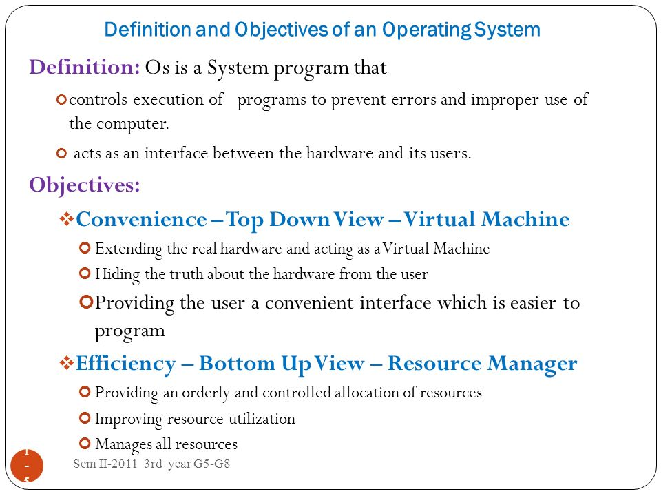 Definition and Objectives of an Operating System