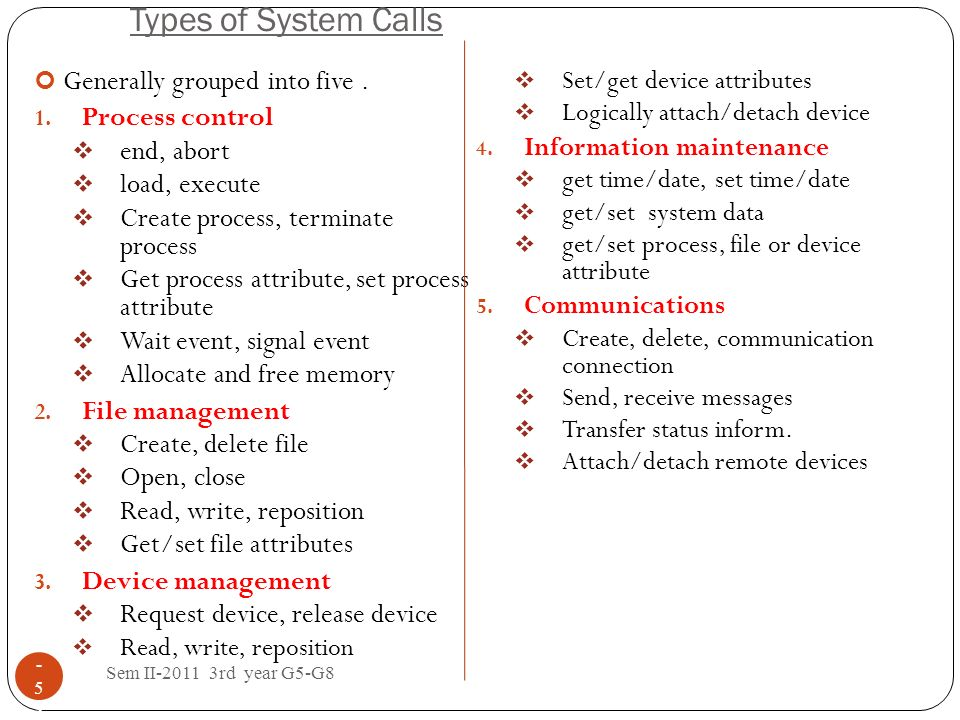 Types of System Calls Generally grouped into five . Process control