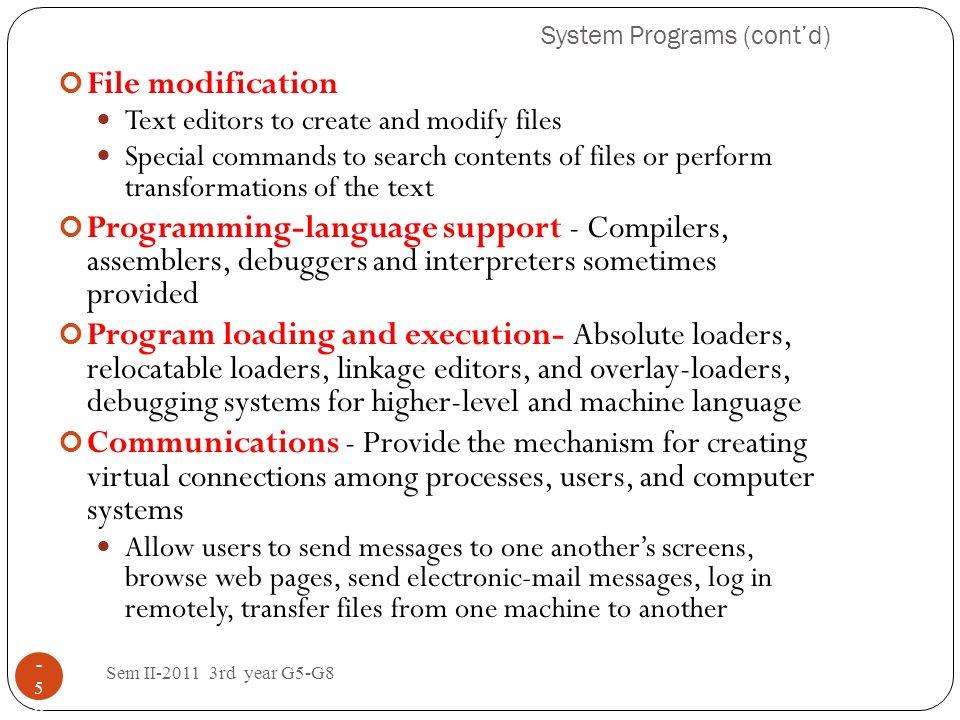 System Programs (cont'd)