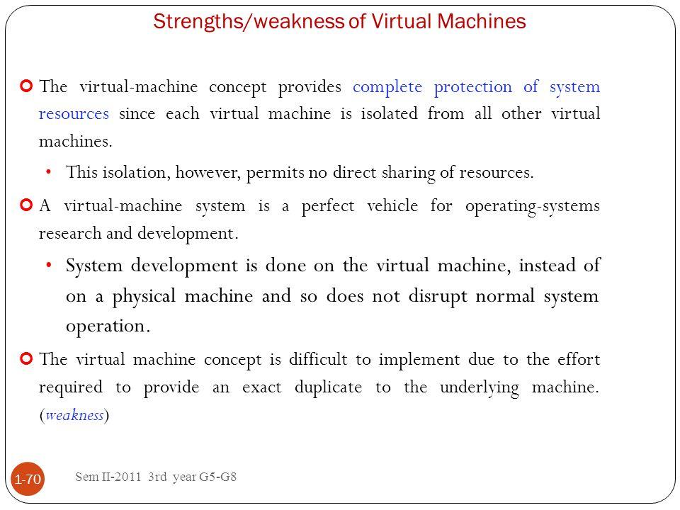 Strengths/weakness of Virtual Machines