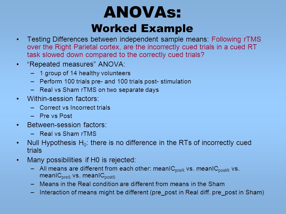 ANOVAs: Worked Example