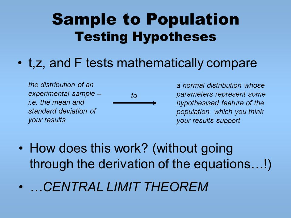 Sample to Population Testing Hypotheses