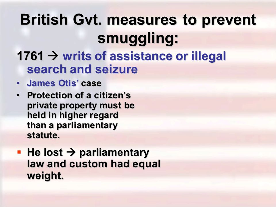 British Gvt. measures to prevent smuggling: