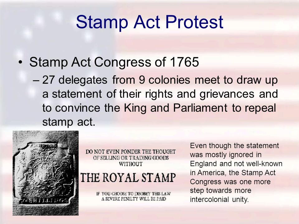 Stamp Act Protest Stamp Act Congress of 1765