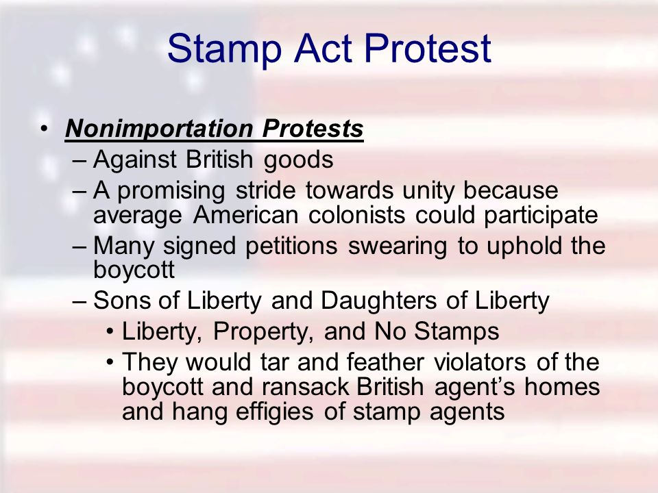 Stamp Act Protest Nonimportation Protests Against British goods