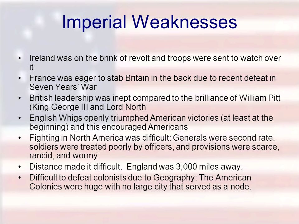Imperial Weaknesses Ireland was on the brink of revolt and troops were sent to watch over it.
