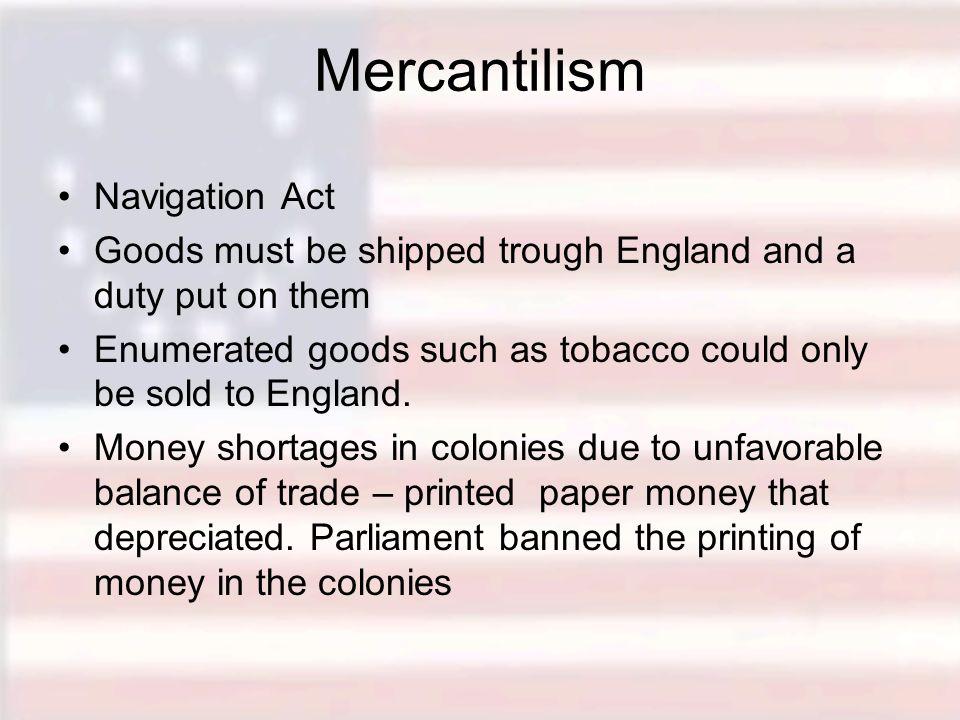 Mercantilism Navigation Act