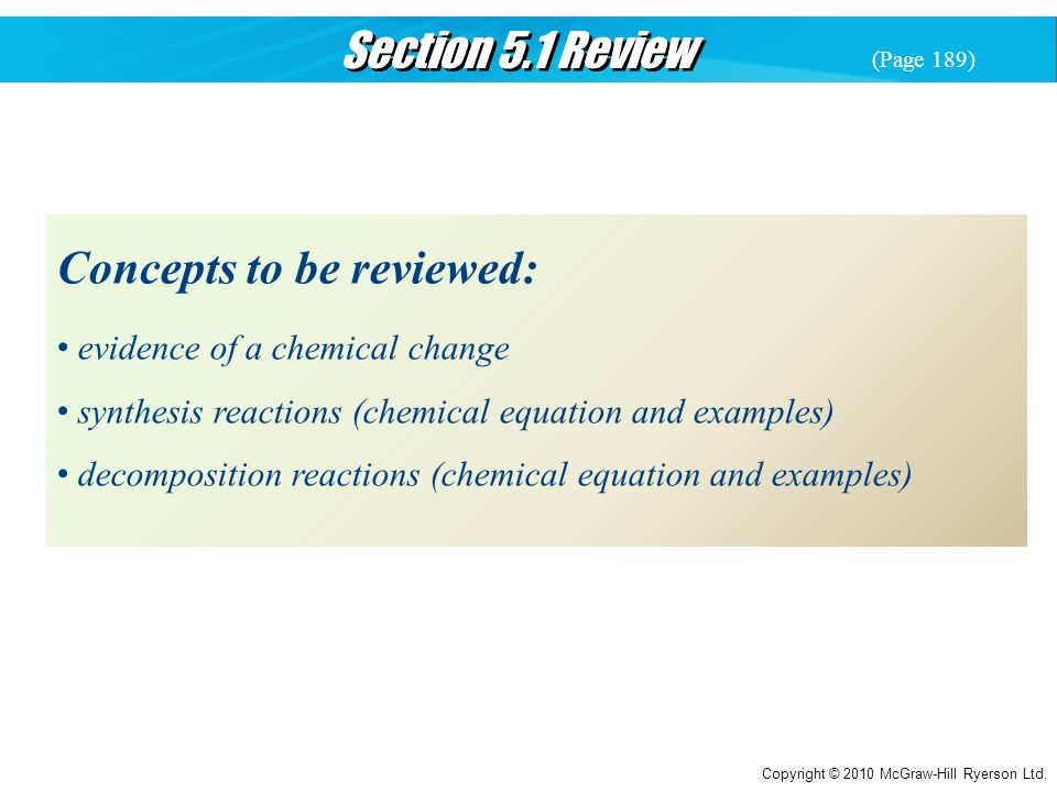 Concepts to be reviewed: