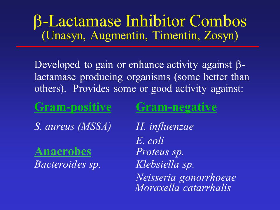 -Lactamase Inhibitor Combos (Unasyn, Augmentin, Timentin, Zosyn)