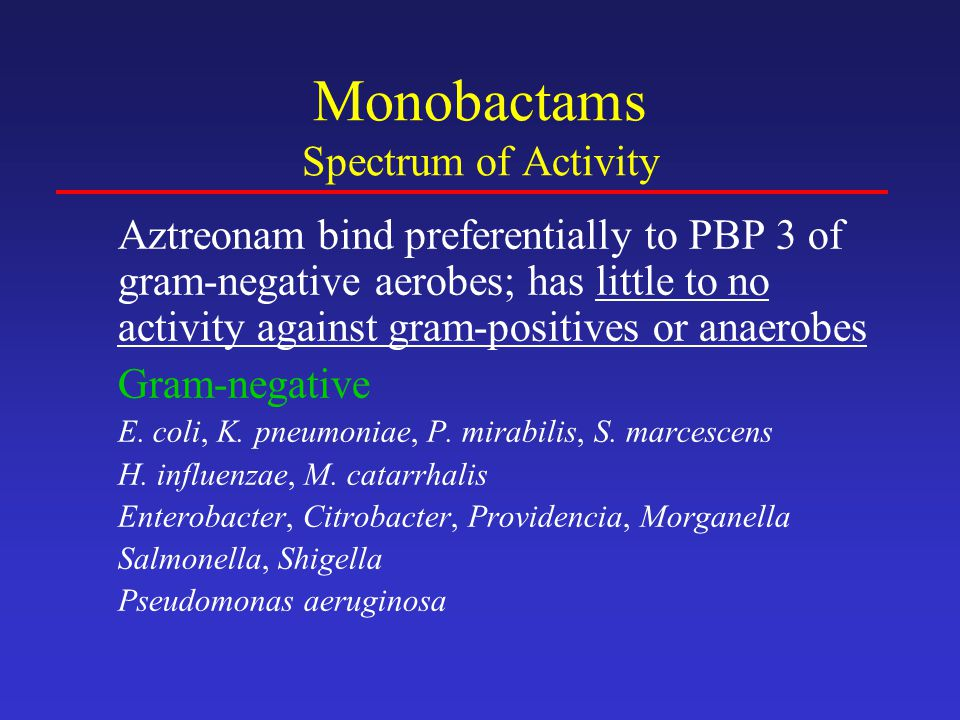 Monobactams Spectrum of Activity