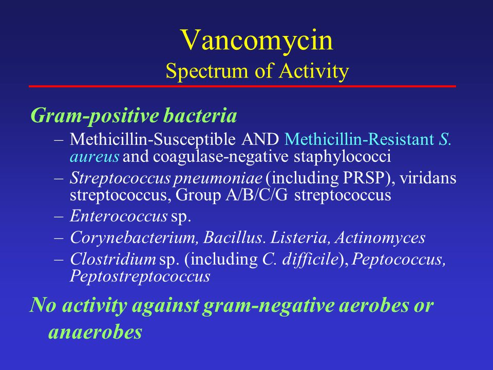 Vancomycin Spectrum of Activity