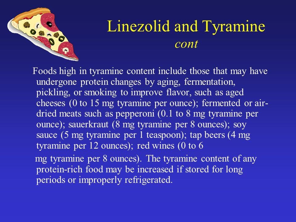 Linezolid and Tyramine cont