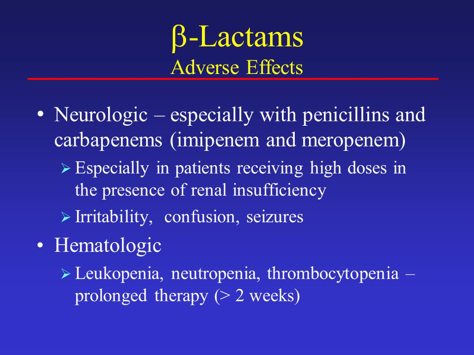 -Lactams Adverse Effects