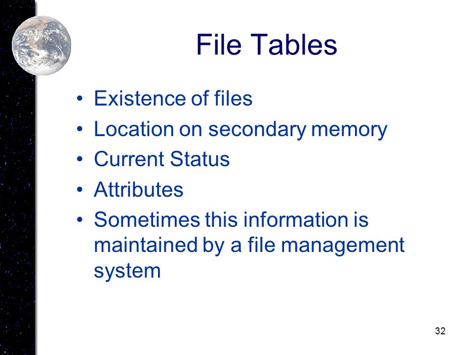 File Tables Existence of files Location on secondary memory