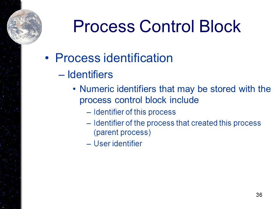 Process Control Block Process identification Identifiers