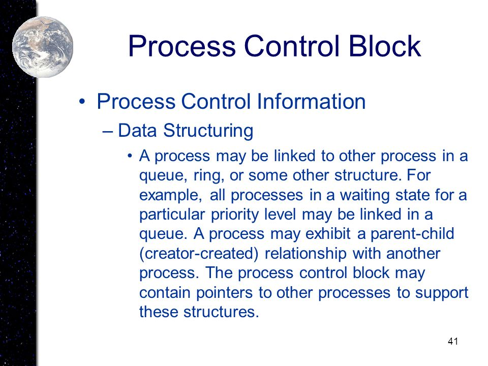 Process Control Block Process Control Information Data Structuring