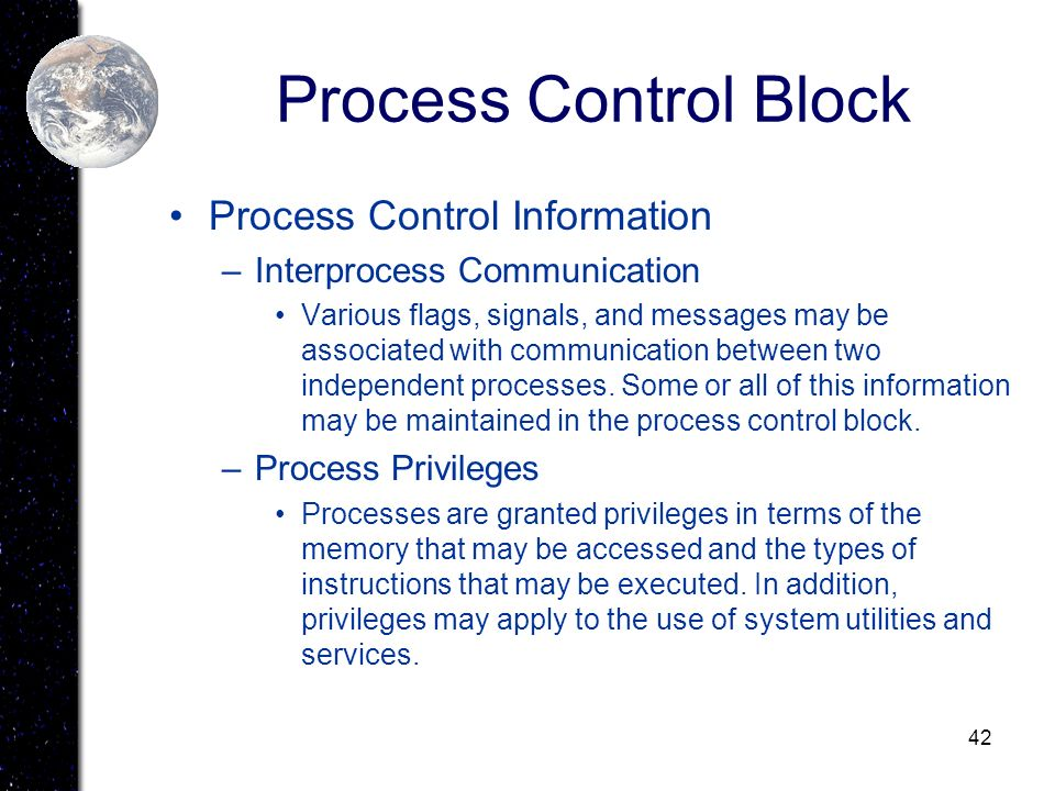 Process Control Block Process Control Information