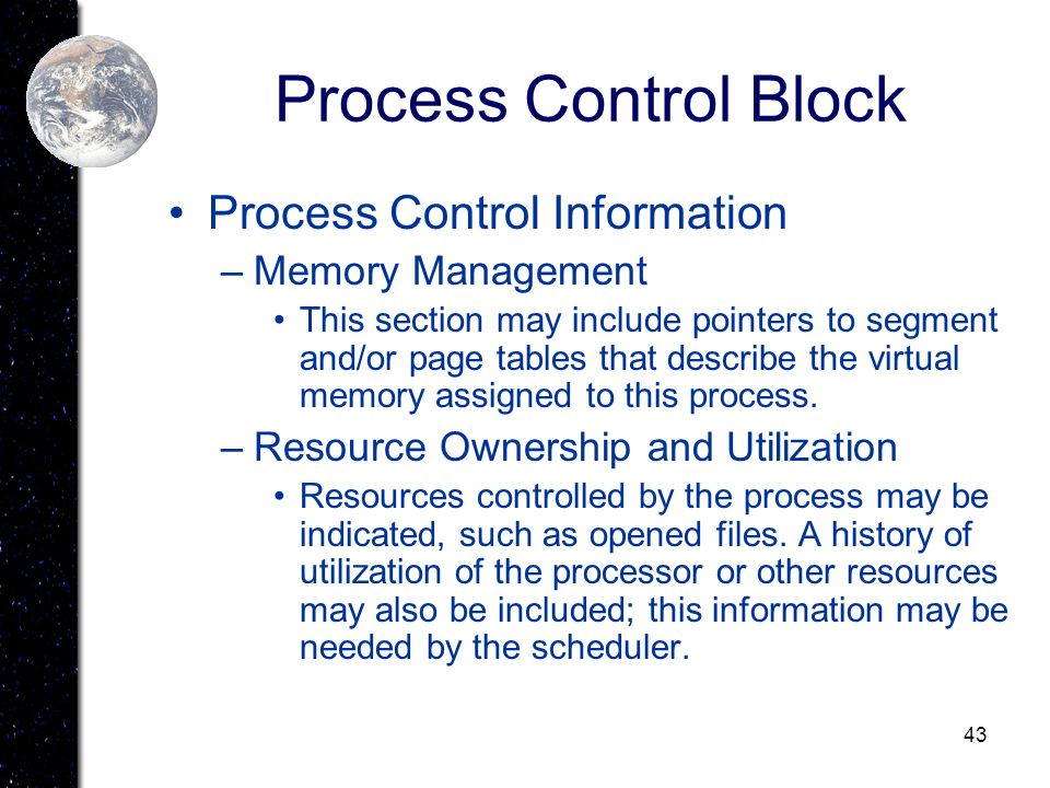 Process Control Block Process Control Information Memory Management