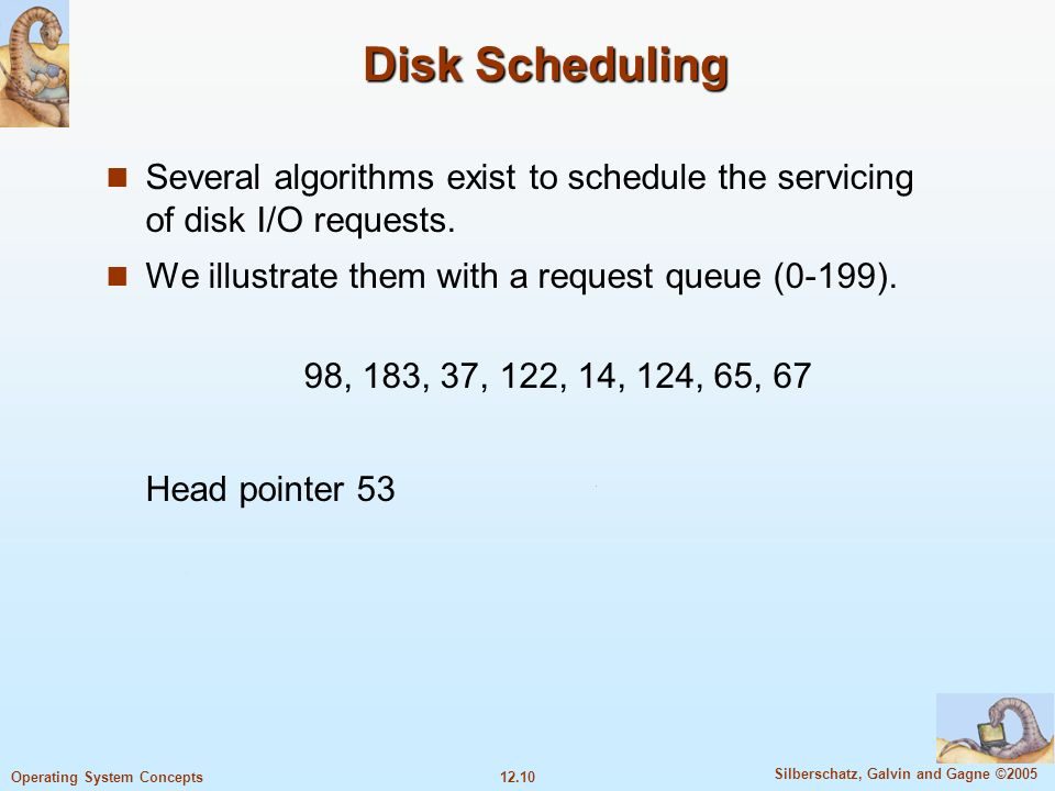 Disk SchedulingSeveral algorithms exist to schedule the servicing of disk I/O requests. We illustrate them with a request queue (0-199).