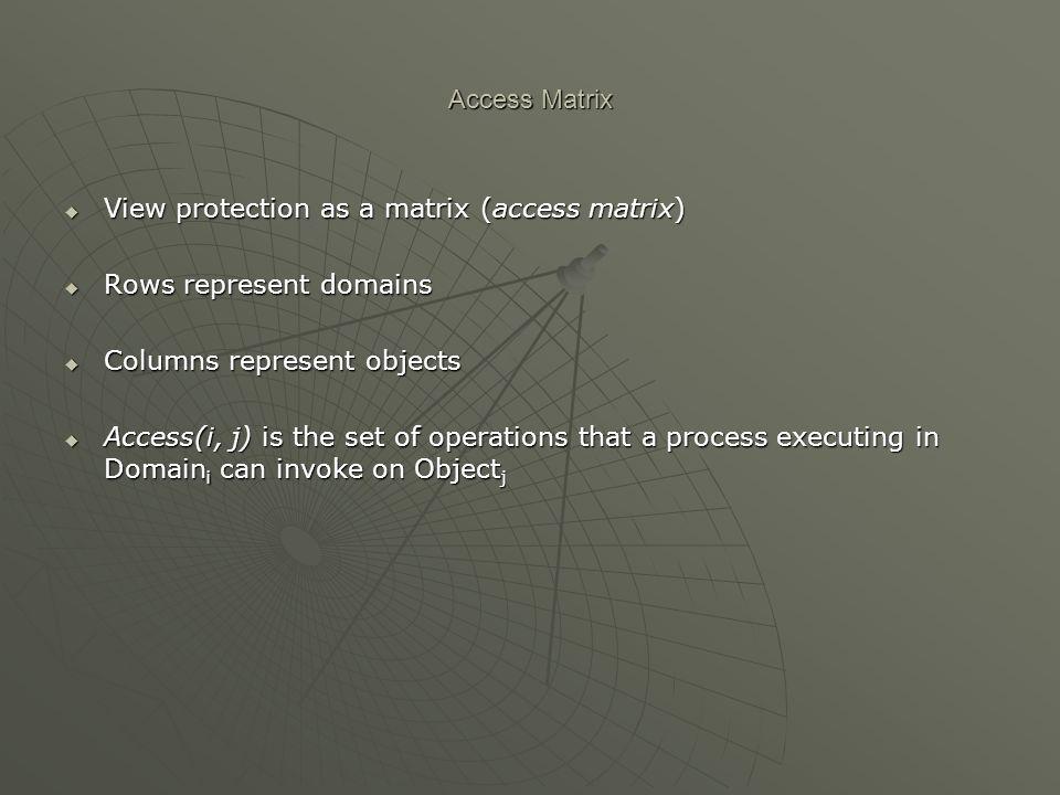 Access Matrix View protection as a matrix (access matrix) Rows represent domains. Columns represent objects.