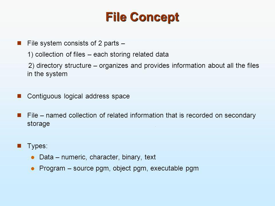 File Concept File system consists of 2 parts –