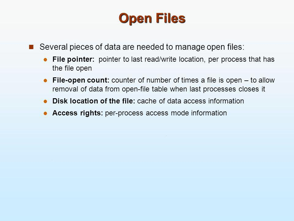 Open Files Several pieces of data are needed to manage open files: