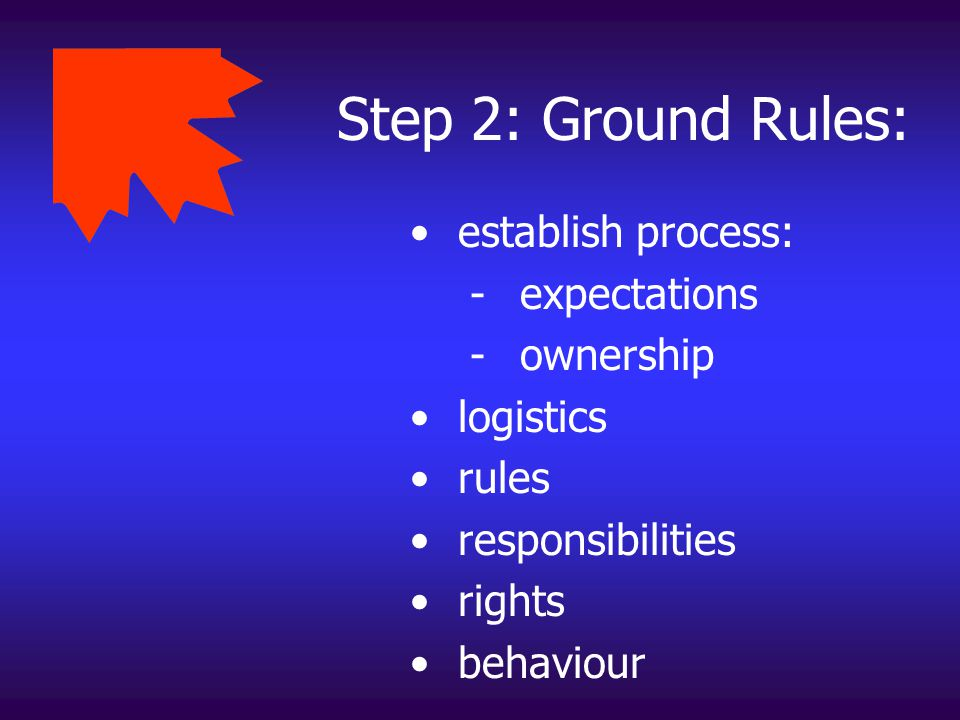 Step 2: Ground Rules: establish process: - expectations - ownership