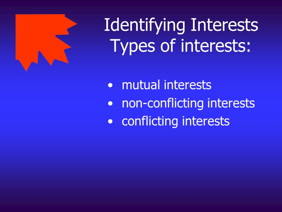Identifying Interests Types of interests: