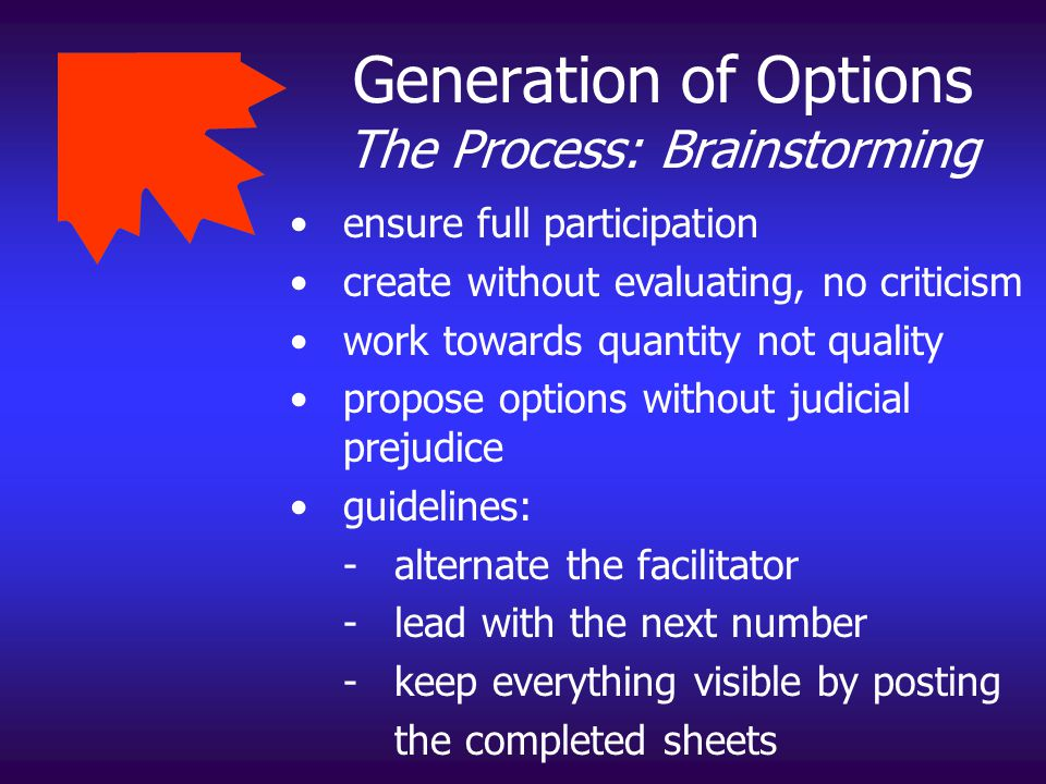 Generation of Options The Process: Brainstorming
