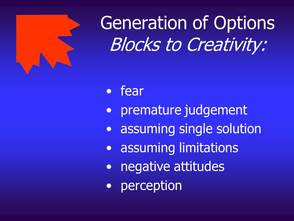Generation of Options Blocks to Creativity: