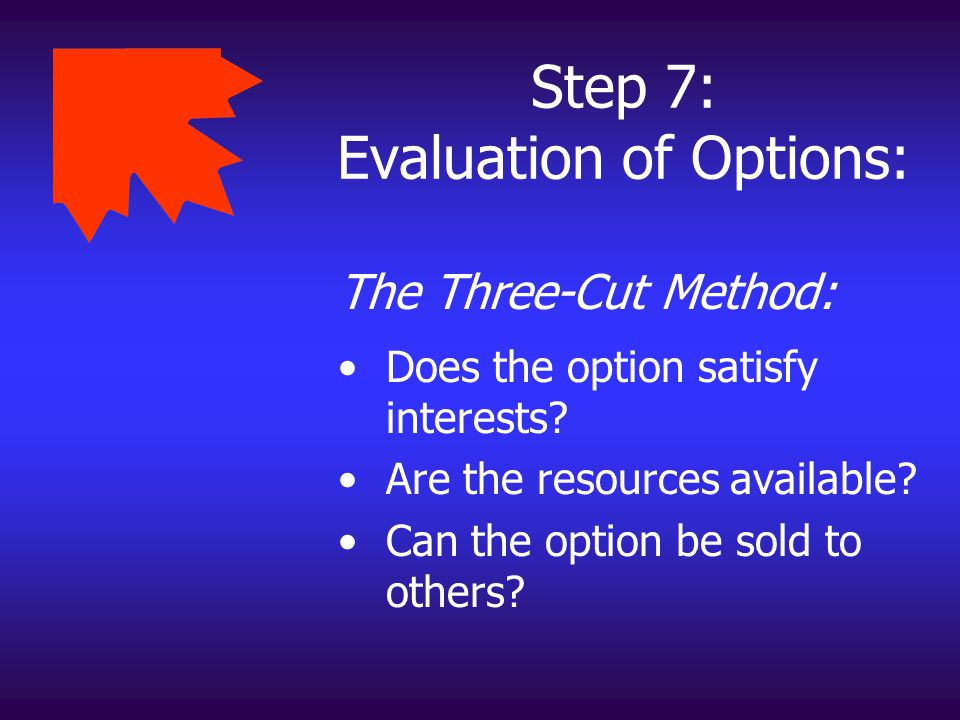 Step 7: Evaluation of Options: