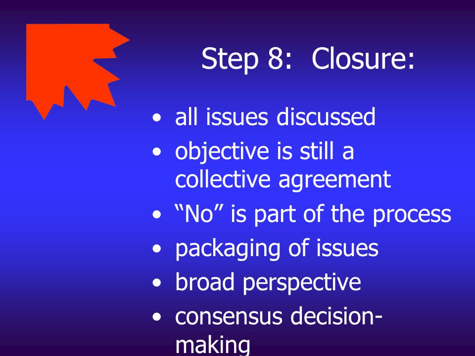 Step 8: Closure: all issues discussed