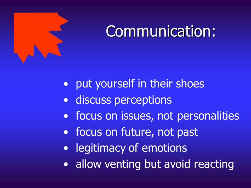 Communication: put yourself in their shoes discuss perceptions