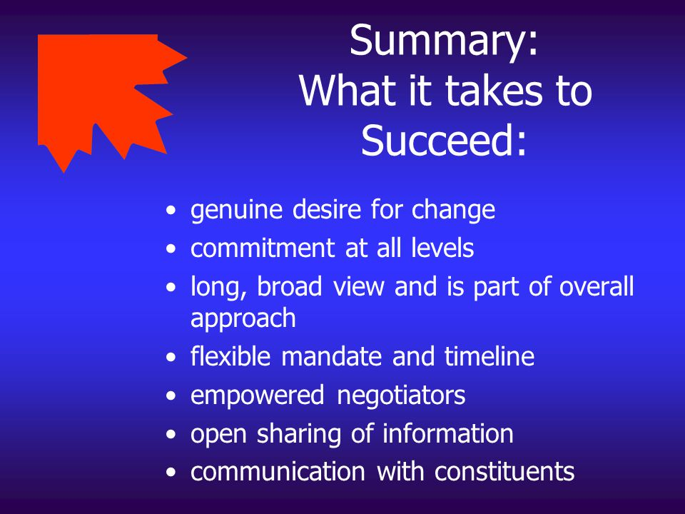 Summary: What it takes to Succeed:
