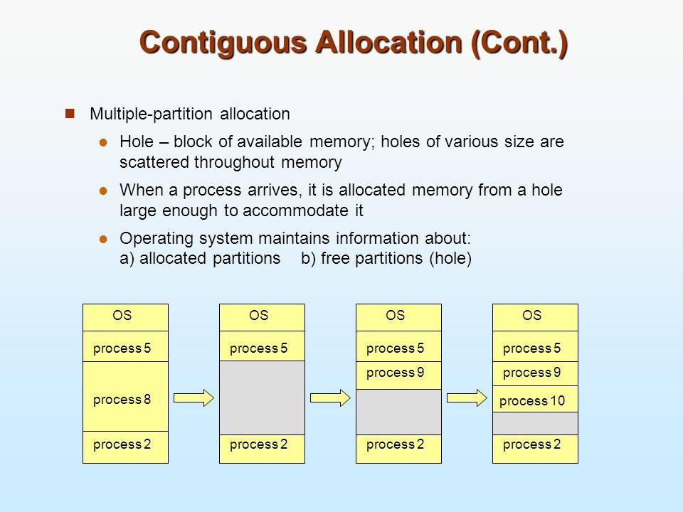 Contiguous Allocation (Cont.)