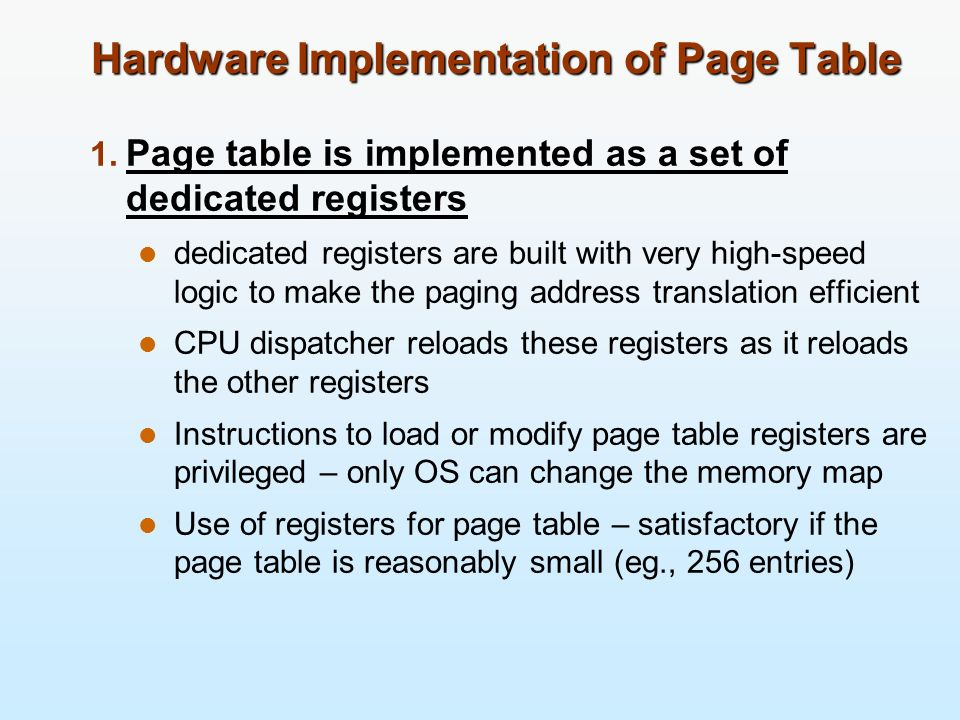Hardware Implementation of Page Table