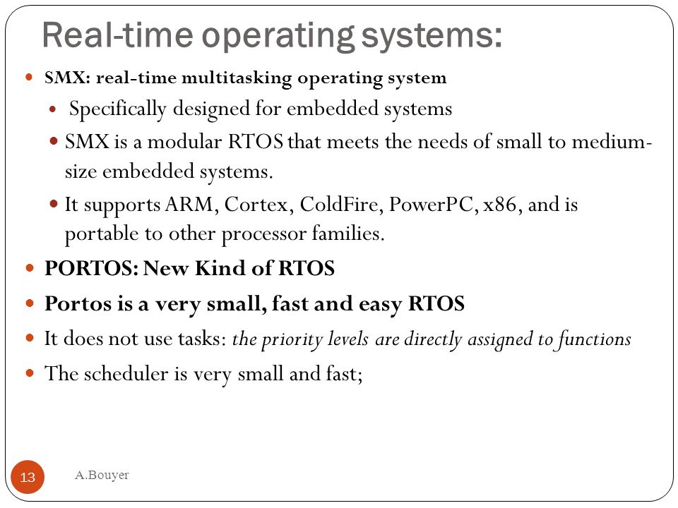 Real-time operating systems: