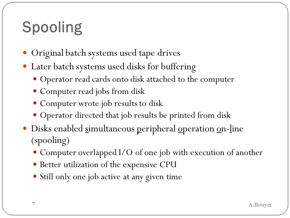 Spooling Original batch systems used tape drives