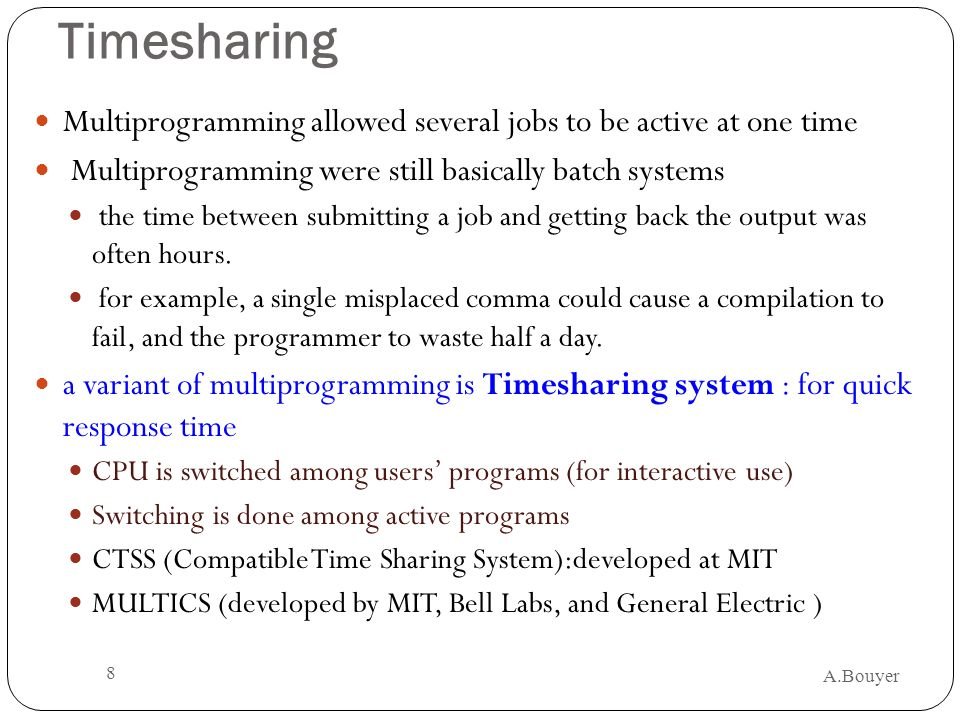 Timesharing Multiprogramming allowed several jobs to be active at one time. Multiprogramming were still basically batch systems.