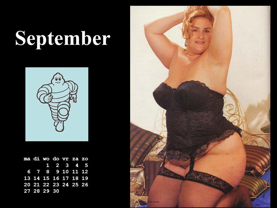 September ma di wo do vr za zo 1 2 3 4 5 6 7 8 9 10 11 12