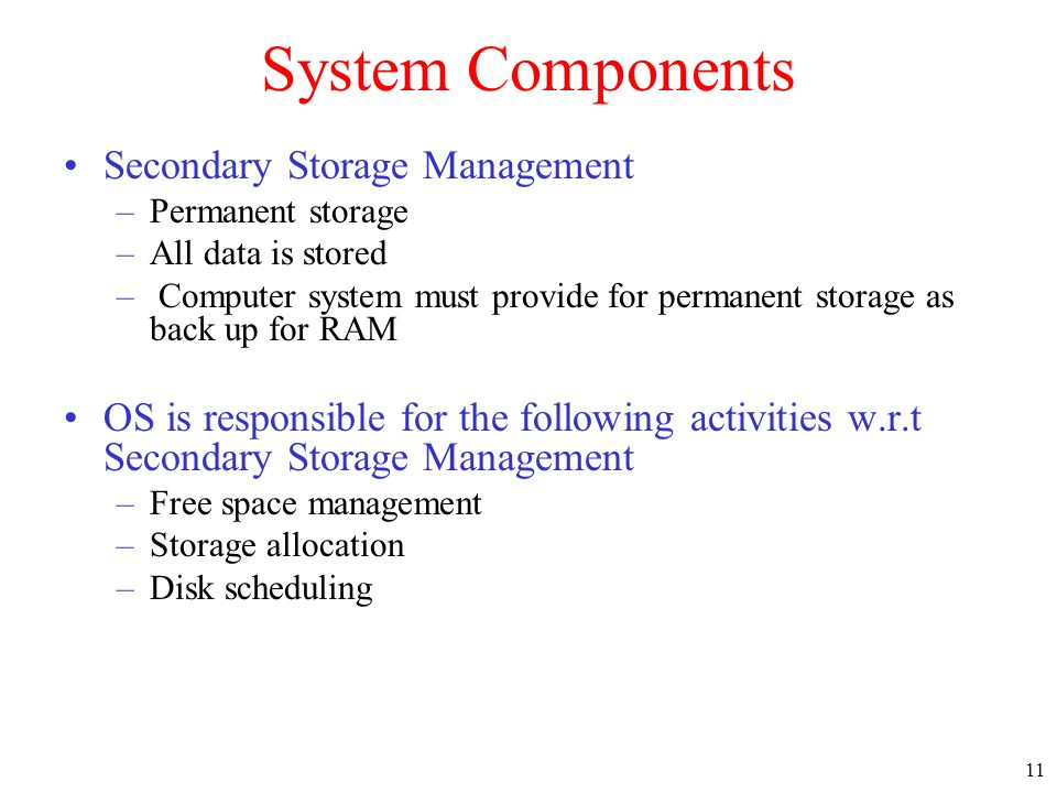 System Components Secondary Storage Management