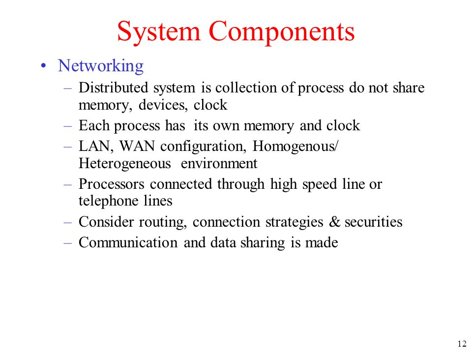 System Components Networking