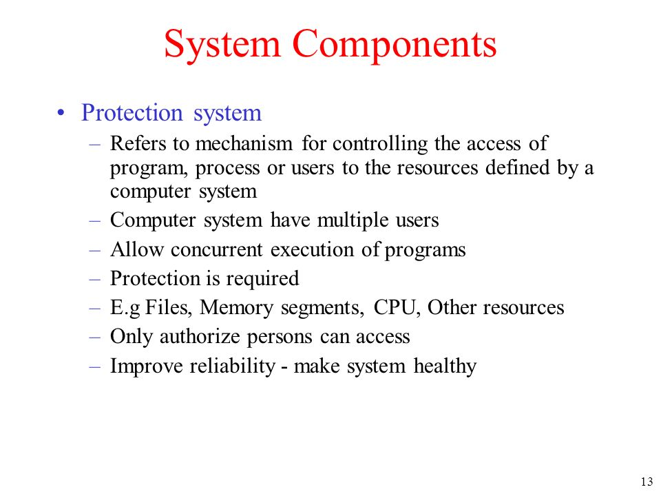 System Components Protection system