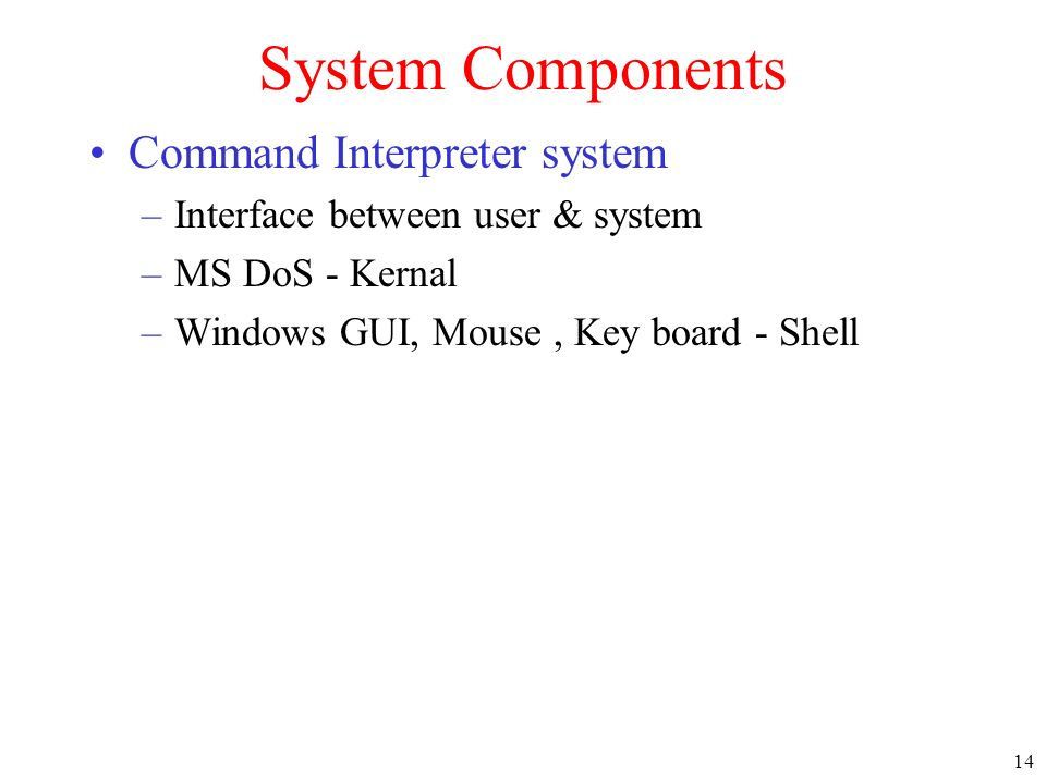 System Components Command Interpreter system