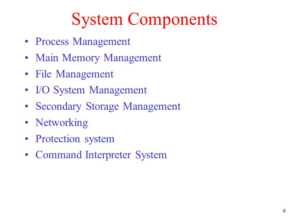 System Components Process Management Main Memory Management